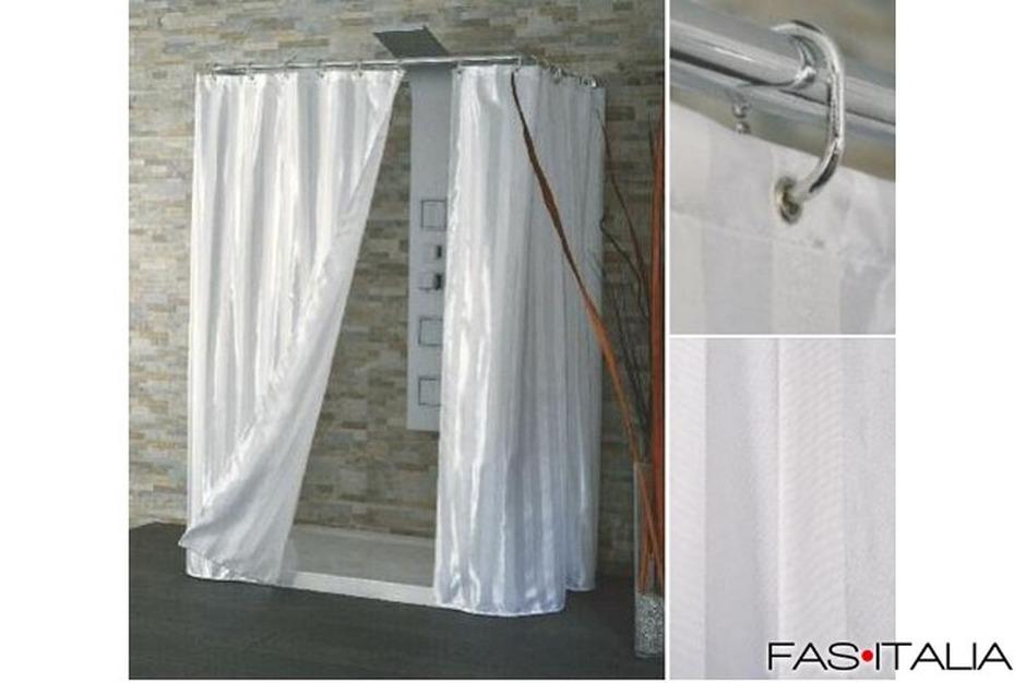 Tenda doccia in tessuto bianco raso cm